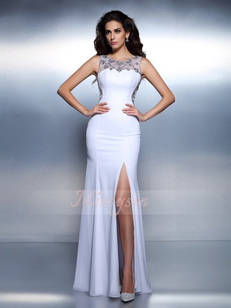 Trumpet/Mermaid Bateau Floor-Length Chiffon Sleeveless Beading Dresses
