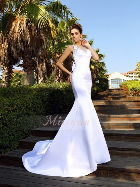 Trumpet/Mermaid Scoop Court Train Satin Sleeveless Beading Dresses