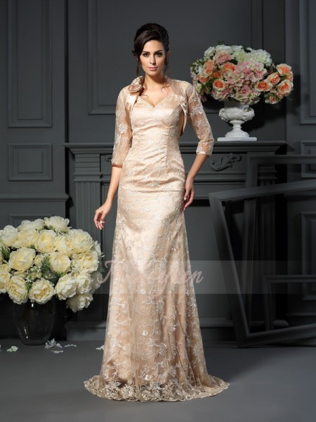 A-Line/Princess V-neck Floor-Length Elastic Woven Satin Sleeveless Lace Mother of the Bride Dresses