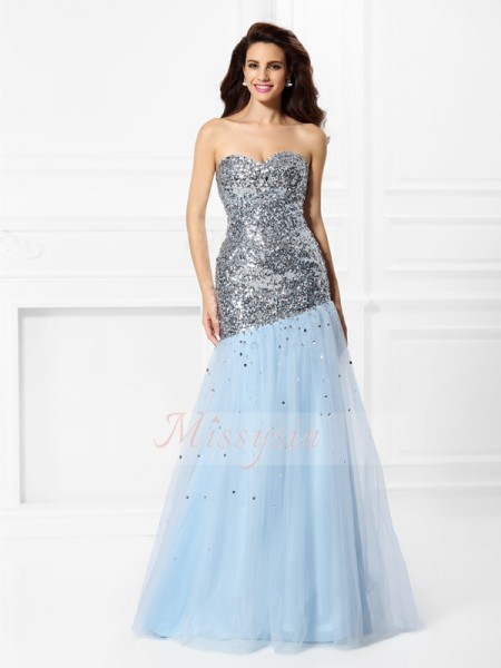 Trumpet/Mermaid Sweetheart Floor-Length Satin Sleeveless Sequin Dresses