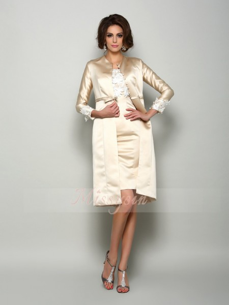 Sheath/Column Square Knee-Length Satin Short Sleeves Applique Mother of the Bride Dresses