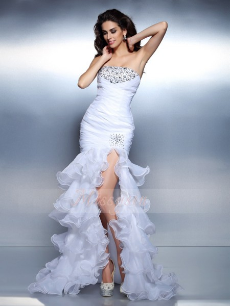 Trumpet/Mermaid Strapless Floor-Length Organza Sleeveless Beading,Ruched Dresses