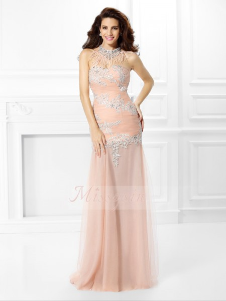 Trumpet/Mermaid Sweetheart Floor-Length Chiffon Sleeveless Applique,Lace Dresses