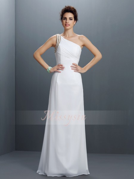 Sheath/Column One-Shoulder Floor-Length Chiffon Sleeveless Beading Dresses