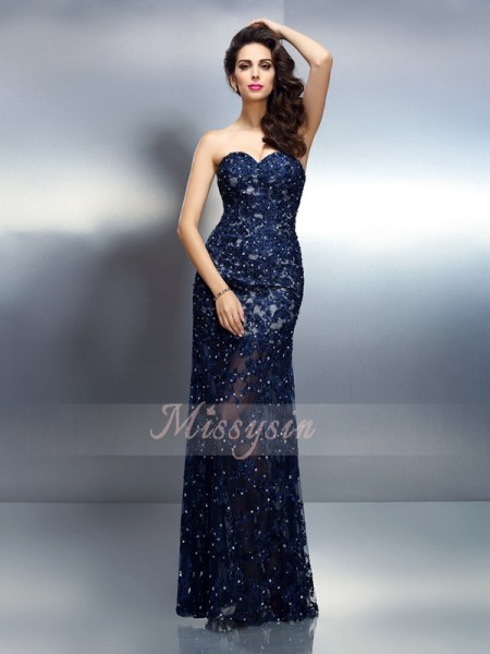 Trumpet/Mermaid Sweetheart Floor-Length Elastic Woven Satin Sleeveless Beading Dresses