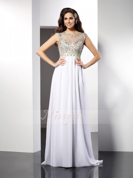 A-Line/Princess Bateau Floor-Length Chiffon Sleeveless Ruffles Dresses
