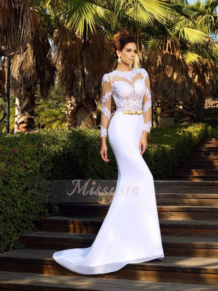 Sheath/Column Scoop Court Train Satin Long Sleeves Applique Wedding Dresses