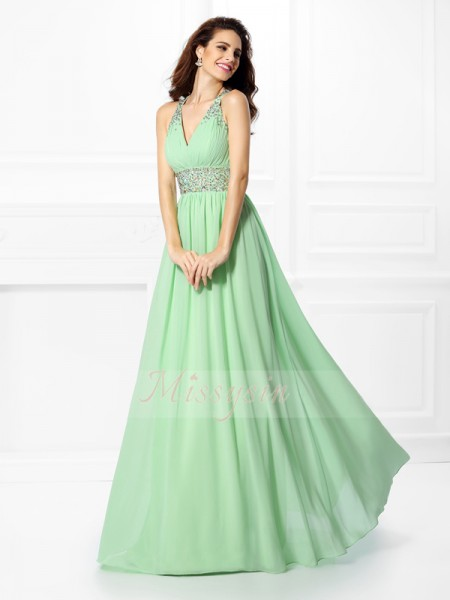 A-Line/Princess V-neck,Straps Floor-Length Chiffon Sleeveless Beading Dresses