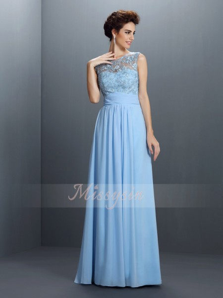 A-Line/Princess Bateau Floor-Length Chiffon Sleeveless Applique Dresses