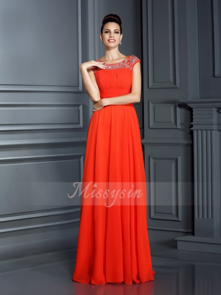 A-Line/Princess Bateau Floor-Length Chiffon Sleeveless Beading Dresses