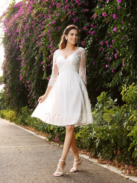 A-Line/Princess V-neck Knee-Length Chiffon 3/4 Sleeves Other Wedding Dresses