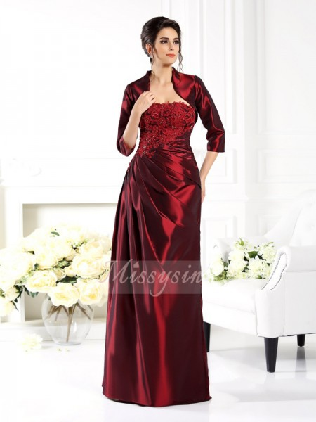 A-Line/Princess Strapless Floor-Length Taffeta 1/2 Sleeves Applique Mother of the Bride Dresses