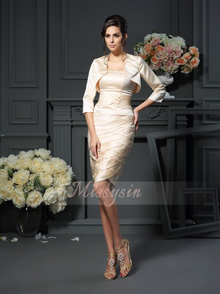 Sheath/Column Strapless Knee-Length Satin Sleeveless Pleats Mother of the Bride Dresses