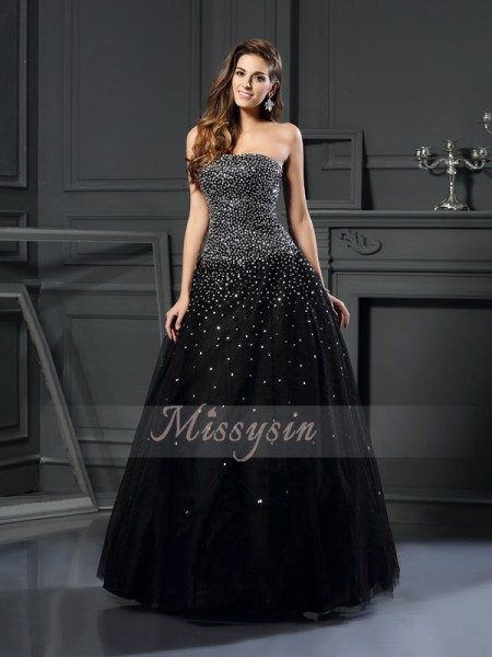 Ball Gown Strapless Floor-Length Satin Sleeveless Beading Dresses