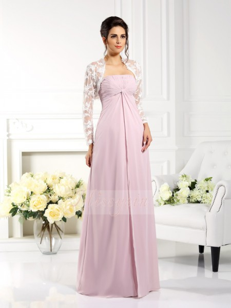 A-Line/Princess Strapless Floor-Length Chiffon Sleeveless Lace Mother of the Bride Dresses