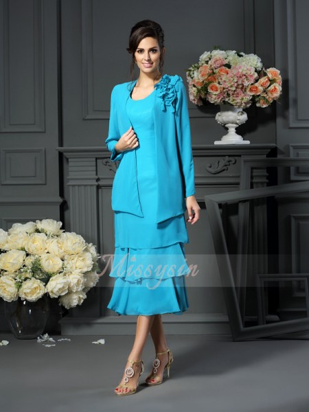A-Line/Princess Scoop Tea-Length Chiffon Sleeveless Other Mother of the Bride Dresses