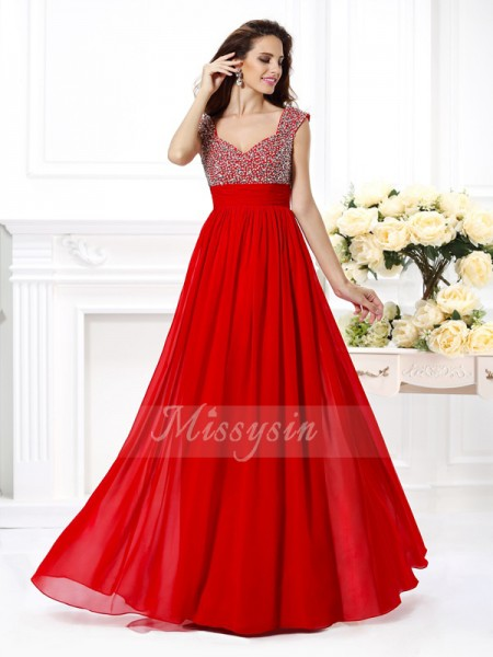 A-Line/Princess Straps Floor-Length Chiffon Sleeveless Beading,Paillette Dresses