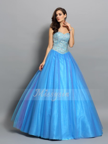 Ball Gown Sweetheart Floor-Length Elastic Woven Satin Sleeveless Beading Dresses