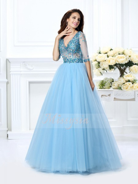 Ball Gown V-neck Floor-Length Satin 1/2 Sleeves Beading Dresses