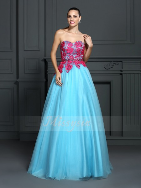 Ball Gown Sweetheart Floor-Length Satin Sleeveless Lace Dresses