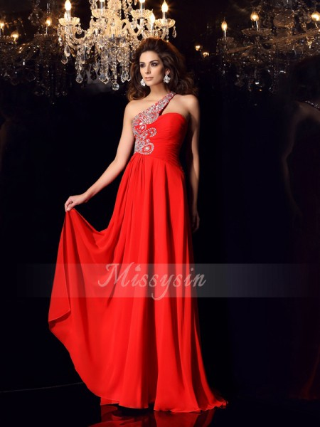 A-Line/Princess One-Shoulder Sweep/Brush Train Chiffon Sleeveless Beading Dresses