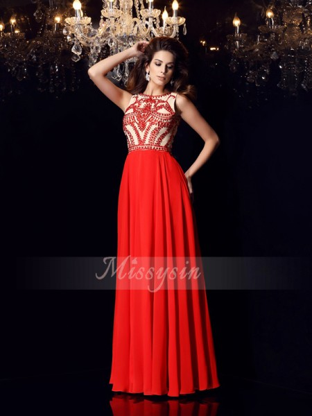 A-Line/Princess Scoop Floor-Length Chiffon Sleeveless Beading Dresses