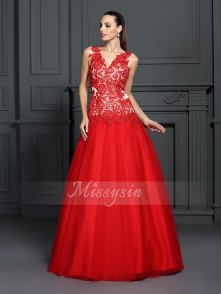 Ball Gown V-neck Floor-Length Lace Sleeveless Lace Dresses