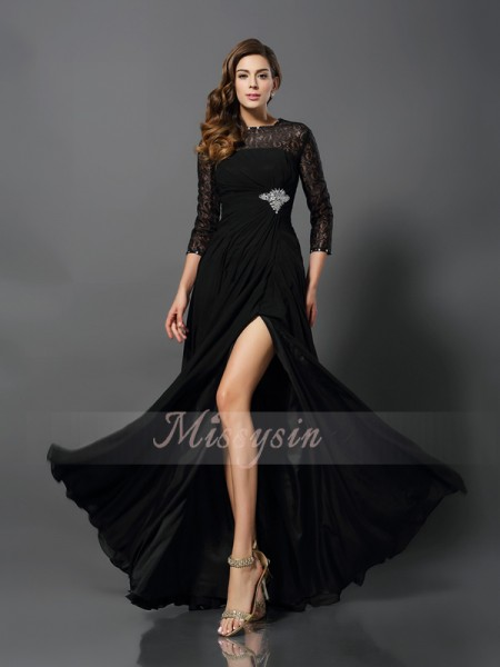 A-Line/Princess Bateau Floor-Length Lace 3/4 Sleeves Other Dresses