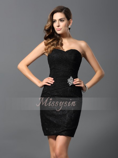 Sheath/Column Sweetheart Short/Mini Lace Sleeveless Rhinestone Dresses