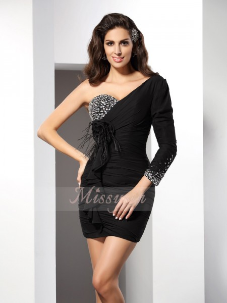 Sheath/Column One-Shoulder Short/Mini Chiffon Long Sleeves Hand-Made Flower,Beading Dresses