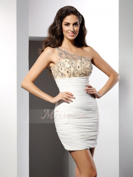 Sheath/Column One-Shoulder Short/Mini Chiffon Sleeveless Beading Dresses