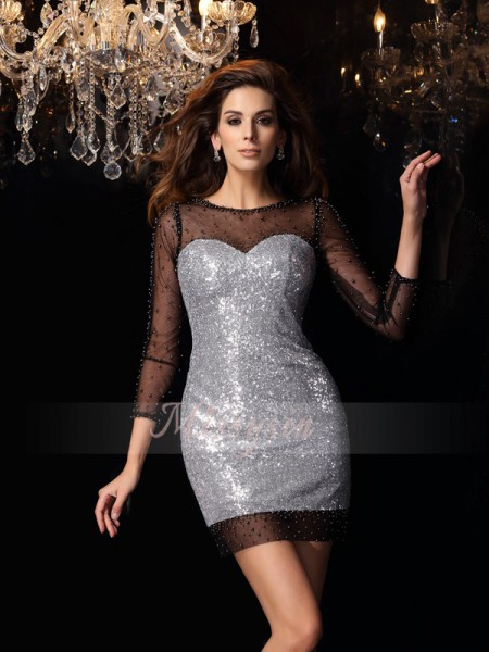 Sheath/Column Scoop Short/Mini Sequins 3/4 Sleeves Beading Dresses