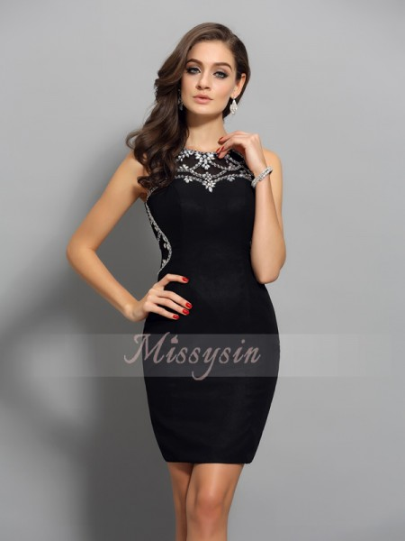 Sheath/Column Scoop Short/Mini Chiffon Sleeveless Beading Dresses