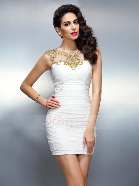 Sheath/Column Bateau Short/Mini Chiffon Sleeveless Beading Dresses