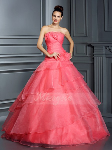 Ball Gown Strapless Floor-Length Organza Sleeveless Hand-Made Flower Dresses