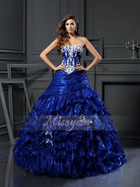 Ball Gown Sweetheart Floor-Length Tulle Sleeveless Beading,Applique Dresses