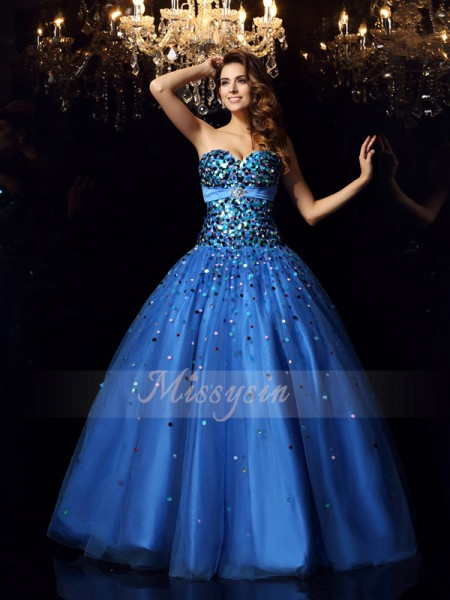 Ball Gown Sweetheart Floor-Length Satin Sleeveless Beading Dresses