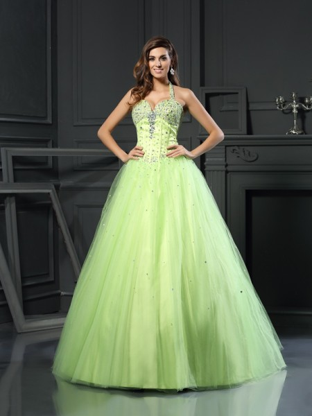 Ball Gown Halter Floor-Length Satin Sleeveless Beading Dresses