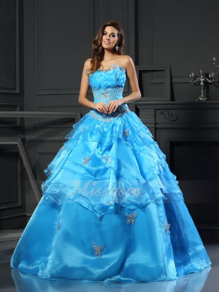 Ball Gown Sweetheart Floor-Length Organza Sleeveless Beading Dresses