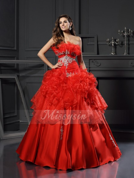 Ball Gown Strapless Floor-Length Organza Sleeveless Ruffles Dresses