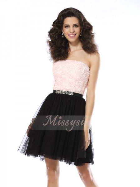 A-Line/Princess Strapless Short/Mini Tulle Sleeveless Other Dresses