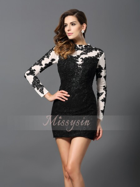 Sheath/Column High Neck Short/Mini Lace Long Sleeves Applique Dresses