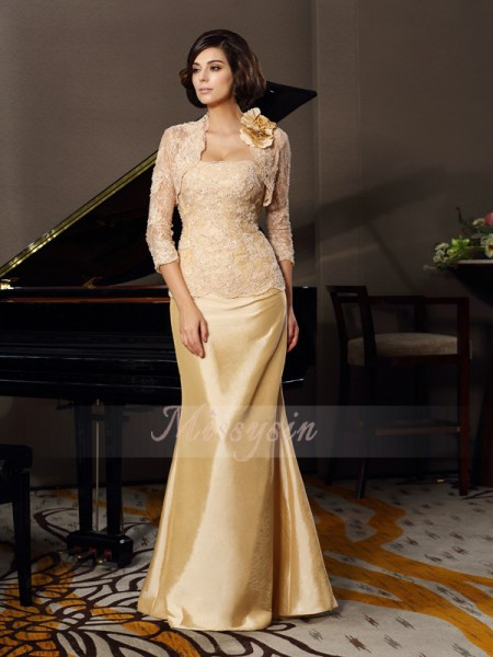 Trumpet/Mermaid Sweetheart Floor-Length Taffeta Sleeveless Lace Mother of the Bride Dresses