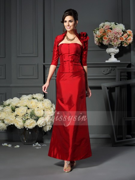 A-Line/Princess Strapless Ankle-Length Taffeta Sleeveless Hand-Made Flower Mother of the Bride Dresses
