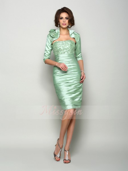 Sheath/Column Strapless Knee-Length Taffeta Sleeveless Other Mother of the Bride Dresses
