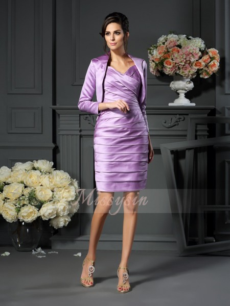 Sheath/Column Straps Knee-Length Satin Sleeveless Ruched Mother of the Bride Dresses