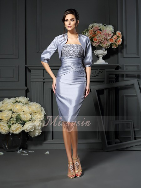 Sheath/Column Sweetheart Knee-Length Taffeta Sleeveless Other Mother of the Bride Dresses