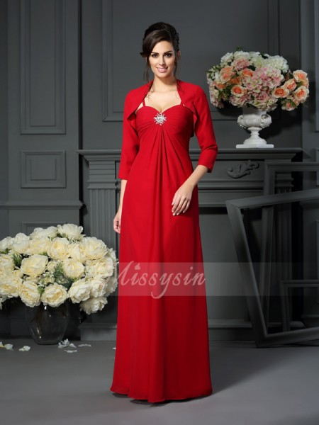 A-Line/Princess Spaghetti Straps Floor-Length Chiffon Sleeveless Beading Mother of the Bride Dresses