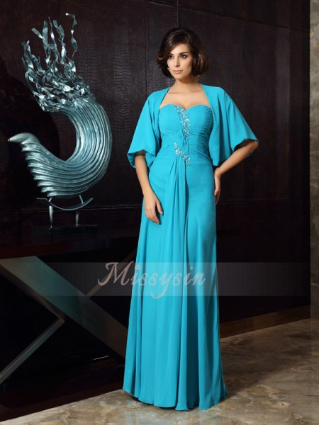 Sheath/Column Sweetheart Floor-Length Chiffon Sleeveless Beading Mother of the Bride Dresses