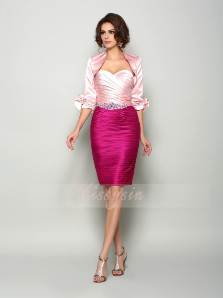 Sheath/Column Sweetheart Knee-Length Satin Sleeveless Beading Mother of the Bride Dresses